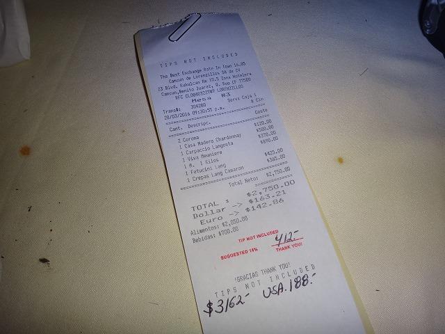 カンクンディナー|ロブスターで有名なロレンシージョお会計