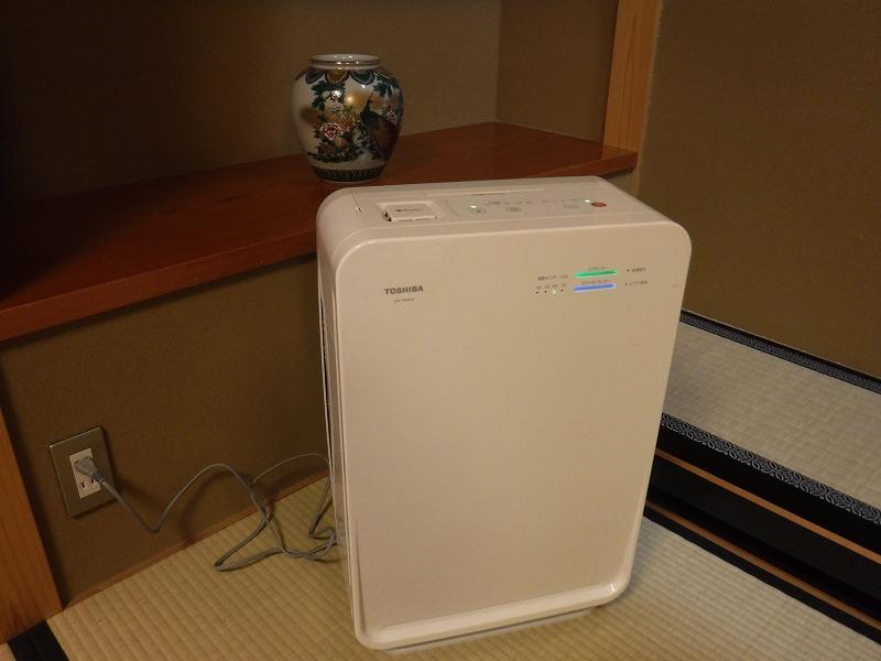 たちばな四季亭露天風呂付き客室の備品 空気清浄機