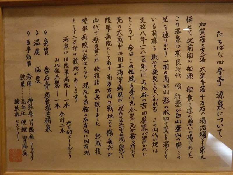 加賀山代温泉 たちばな四季亭温泉源泉の説明