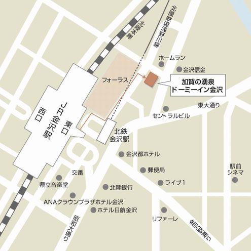 天然温泉 加賀の湧泉 ドーミーイン金沢地図