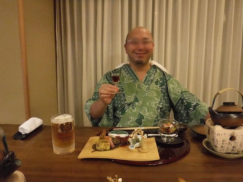 石川県たちばな四季亭夕食夫婦で食前酒乾杯夫