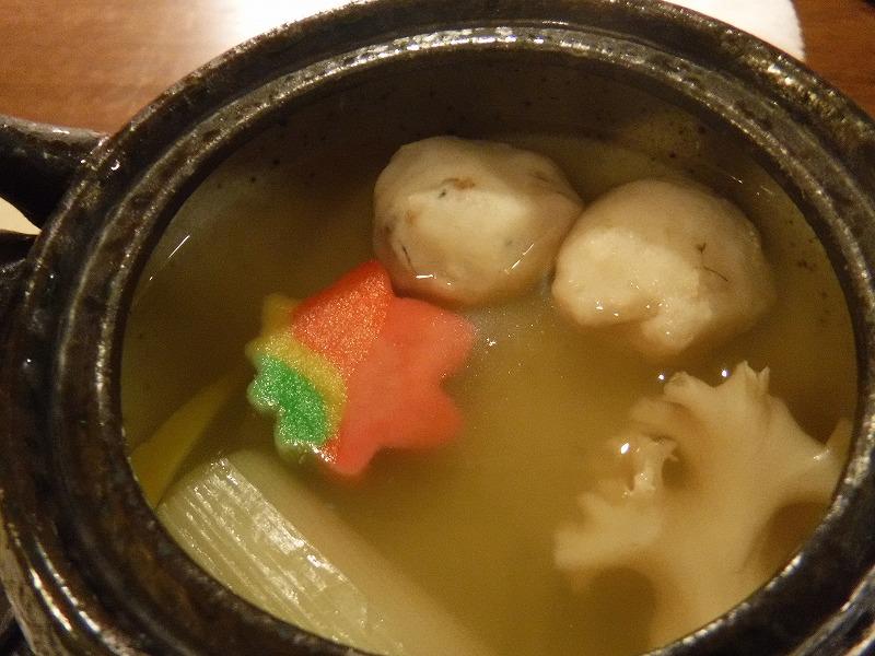 石川県たちばな四季亭の食事土瓶蒸しの中身