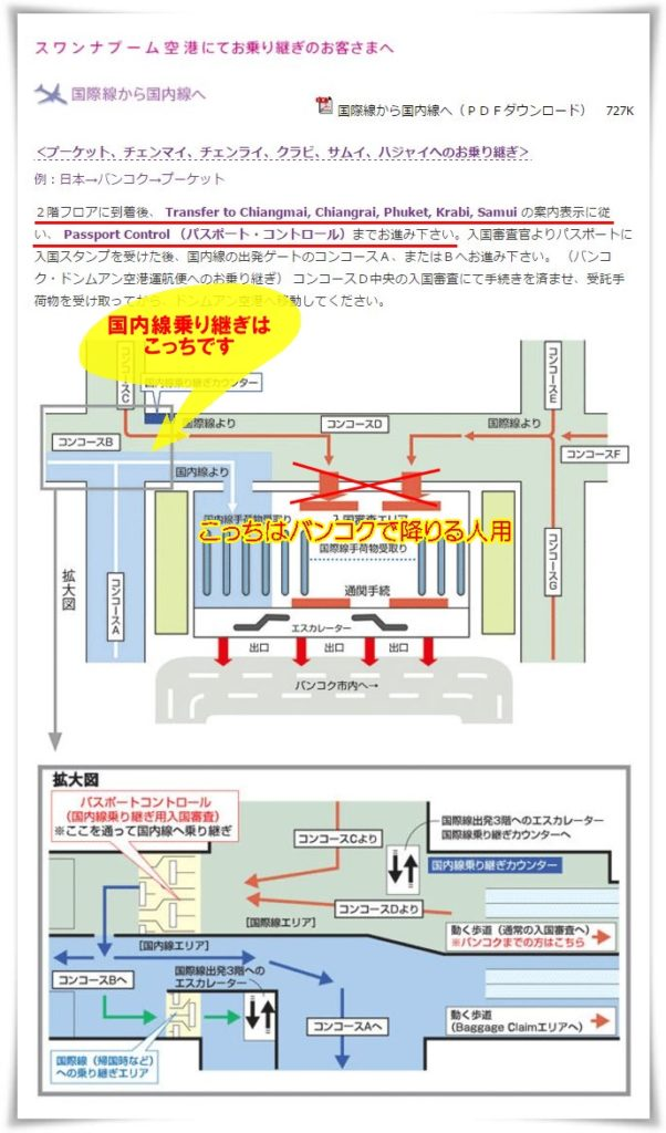 タイ国際航空のHPにあるバンコク・スワンナプーム国際空港の国内線乗り継ぎ案内図