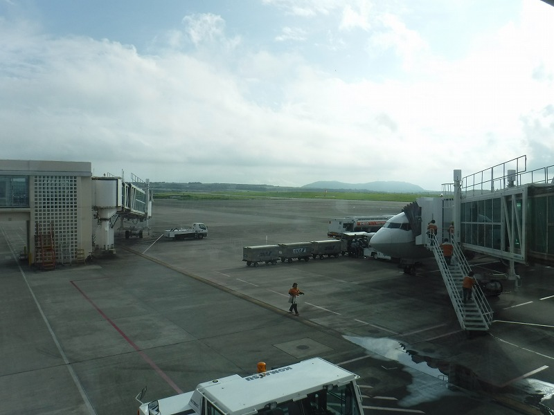 梅雨時期の石垣空港_到着した滑走路