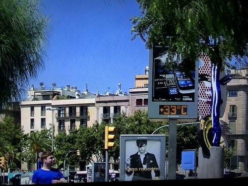 バルセロナ港の温度計
