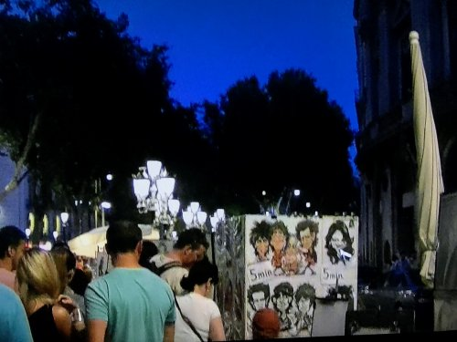 バルセロナのラ・ランブラ通りの似顔絵画家