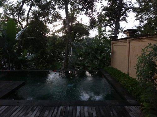 コマネカアットタンガユダウブドのヴァレープールヴィラのお部屋の朝方の雨の当たるプライベートプール