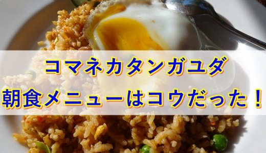 コマネカタンガユダの朝食|レストラン「バツカルキッチン」メニューはコウだった!