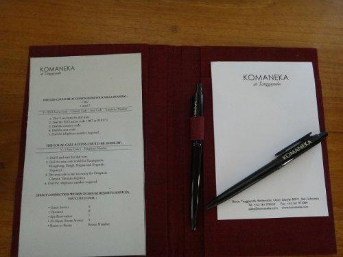 バリ島ウブドのコマネカタンガユダ、ヴァレープールヴィラ室内にあったコマネカのメモ帳