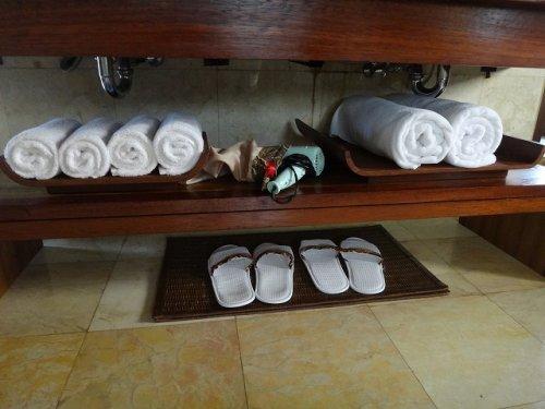 バリ島ウブドのコマネカタンガユダ、ヴァレープールヴィラ室内の洗面スペース下段