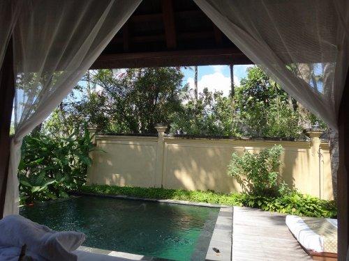 ウブドのプライベートプール付きヴィラ|コマネカアットタンガユダヴァレープールヴィラのプライベートプールにある屋根付きベッドスペースからの眺め