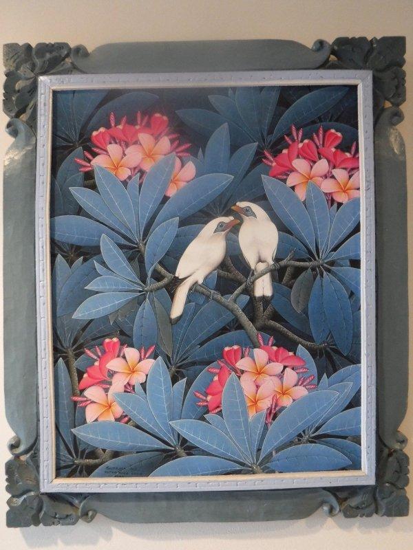 バリ絵画ウブドで2度目に買った伝統スタイルのバリ絵画ブンゴセカンスタイルの青系の絵_全体