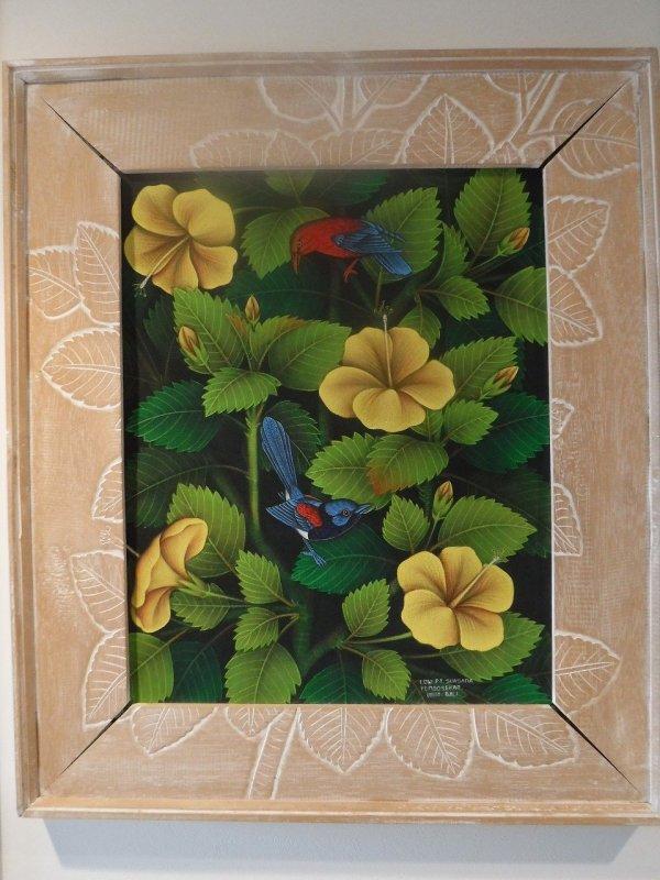 バリ絵画ウブドで最初に買った伝統スタイルのバリ絵画ブンゴセカンスタイルの絵_全体