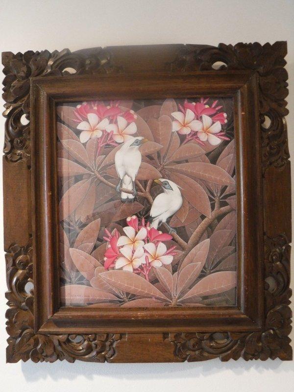 バリ絵画ウブドで2度目に買った伝統スタイルのバリ絵画ブンゴセカンスタイルのブラウン系の絵_全体