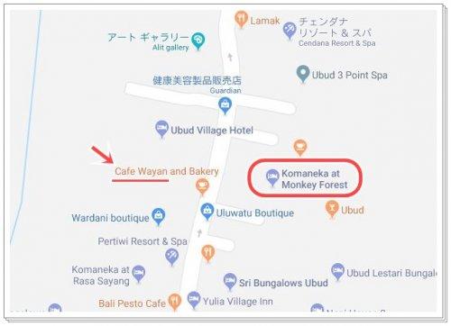 ウブドおすすめレストラン|カフェワヤンとコマネカモンキーフォレストの位置説明地図