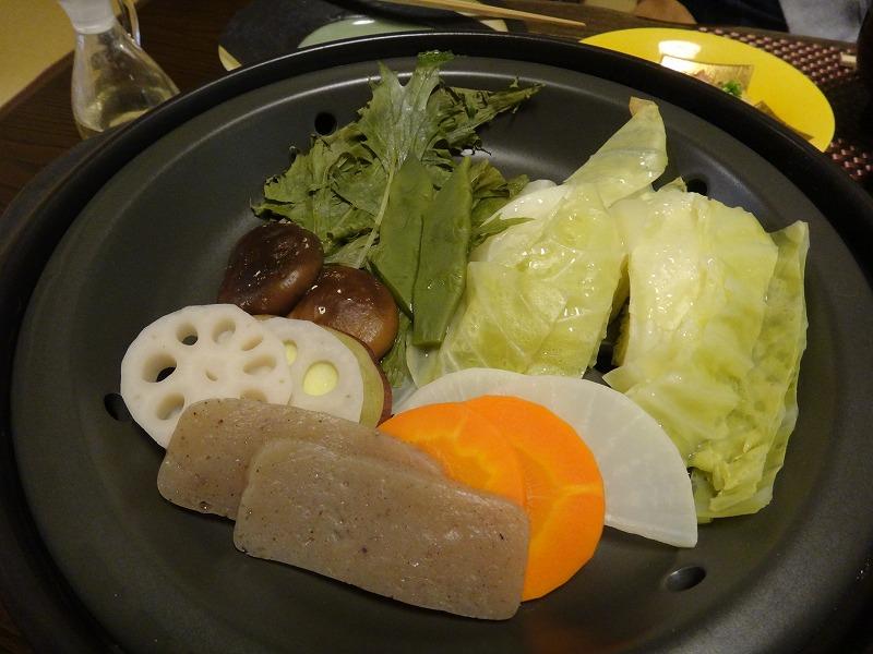 由布院わらび野食事朝食_由布院お野菜の温蒸し
