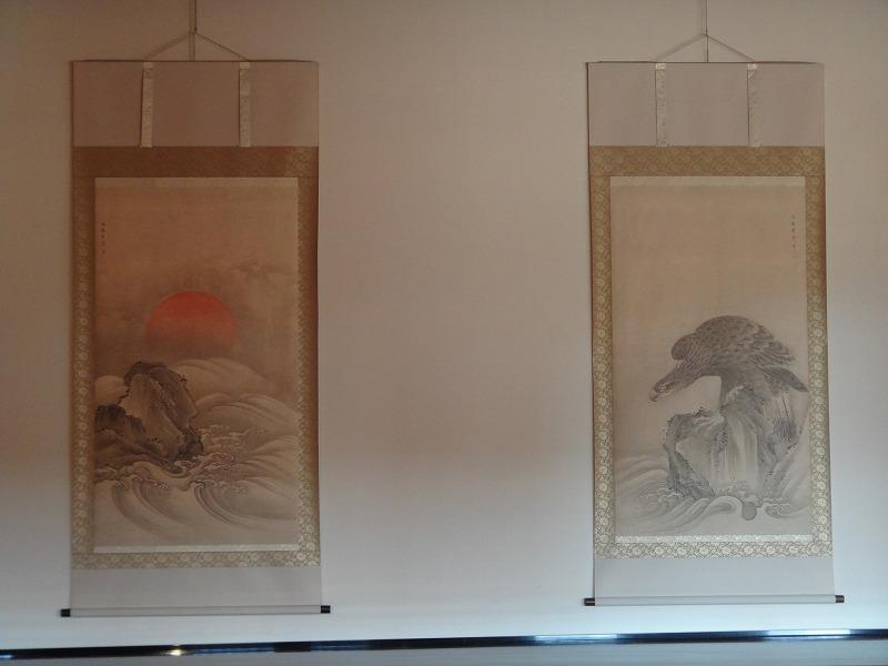 【熊本城復興祈願】熊本城_天守閣の中にあった桐之間の掛け軸「旭日猛禽図」
