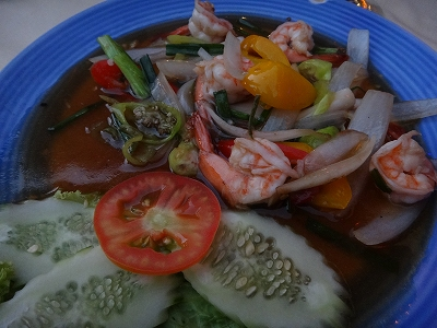 カオラックでおいしいタイ料理レストラン1.サラタイレストラン2015年リピート_海老のスイートチリ炒め