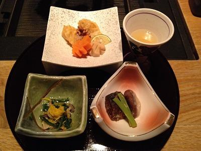 ラビスタ大雪山夕食レストランヌプリ狩人焼コース_最初の小鉢3種