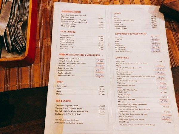 ホイアンのレストランおすすめVy's Market Restaurant_ドリンクメニュー1
