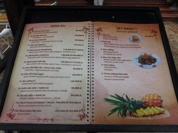 ベトナムフエ1日観光|宮廷料理レストランHoa Vien Gerden Restaurant_一般料理メニュー