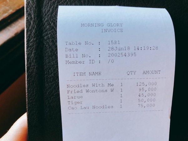 ホイアン旧市街にあるモーニンググローリーのご飯_お会計
