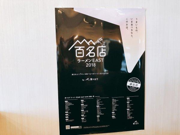千歳ラーメン麺や麗(めんや れい)_お店に貼ってあった東日本エリアのいま食べるべきラーメン店2018TOP100 選出のポスター
