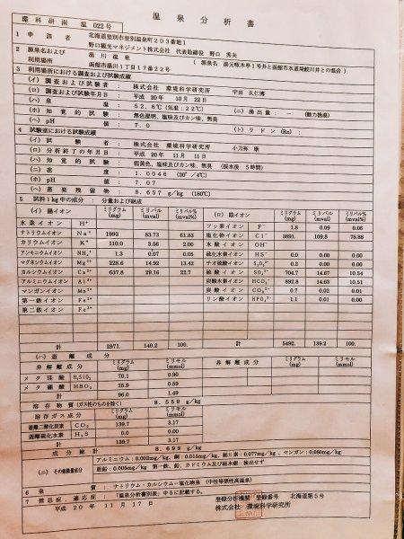 湯の川温泉望楼NOGUCHI函館12階1202「月見の間」_温泉成分表