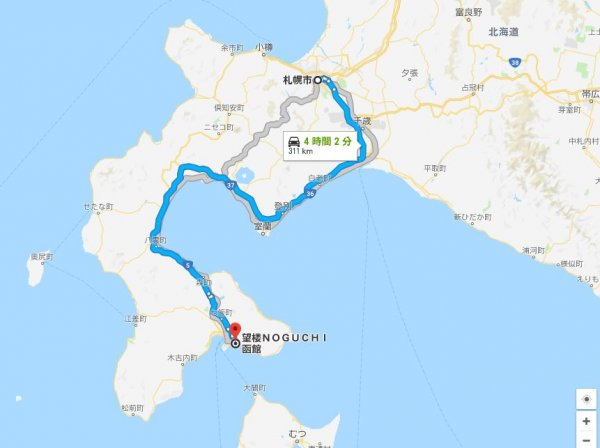 札幌市から湯の川温泉望楼NOGUCHI函館までの距離Googleマップキャプチャ