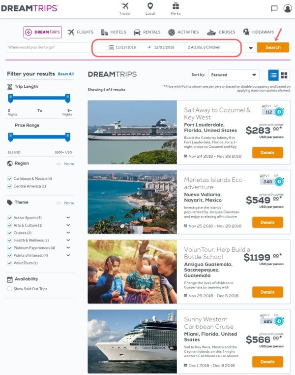 ワールドベンチャーズのドリームトリップ_旅行プラン検索画面
