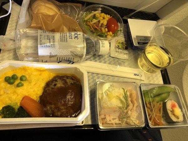 【メキシコ旅行】プエルトバジャルタの行き方_ANAヒューストン便_機内食ビーフハンバーグステーキ デミグラスソース