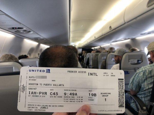 【メキシコ旅行】プエルトバジャルタの行き方_UNITEDプエルトバジャルタ便機内の様子