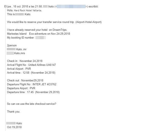 海外ホテルに送迎メール_メキシコ・ハードロックホテルバリャルタ_返信メールに返信で送迎予約依頼