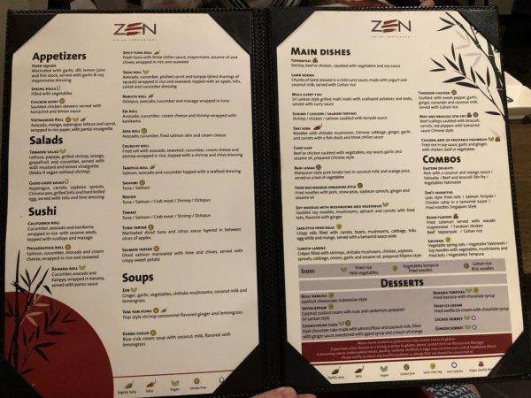 ハードロックホテルバリャルタのディナーレストラン_日本・アジア料理 ZEN_メニュー1