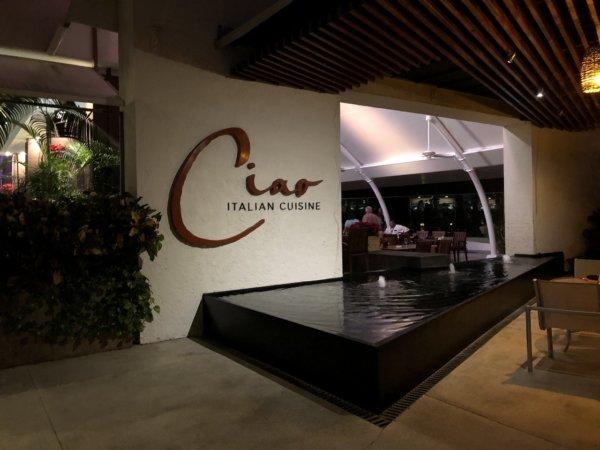 ハードロックホテルバリャルタのディナーレストラン_イタリアン CIAO_入り口サイン