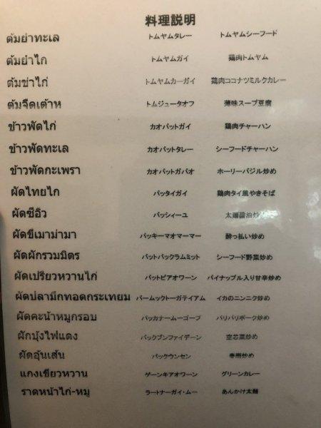 パタヤの食堂ヌアン_メニュー_日本語解説